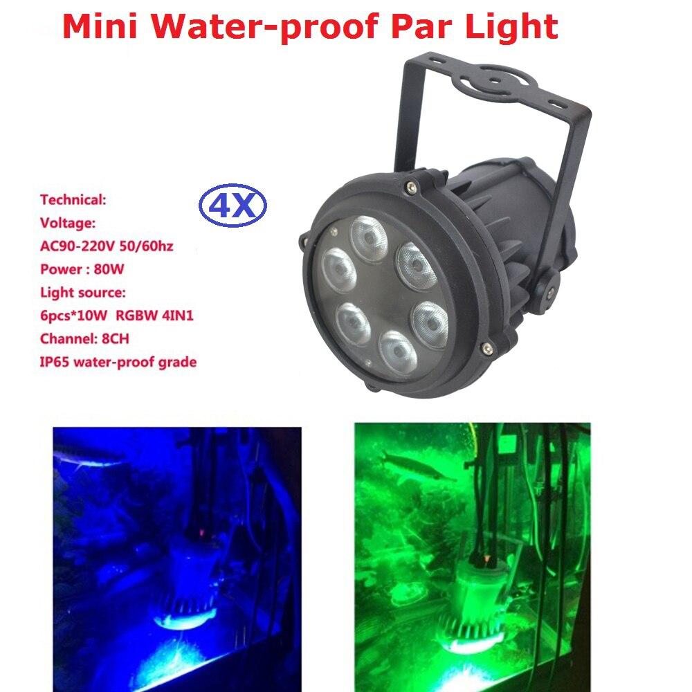 4Pcs/Lot Waterproof LED Dj Par Cans IP65 6X10W RGBW Quad Color LED Stage Par Lights For Party Wedding Disco Events Lighting chauvet dj slim par quad 6 irc