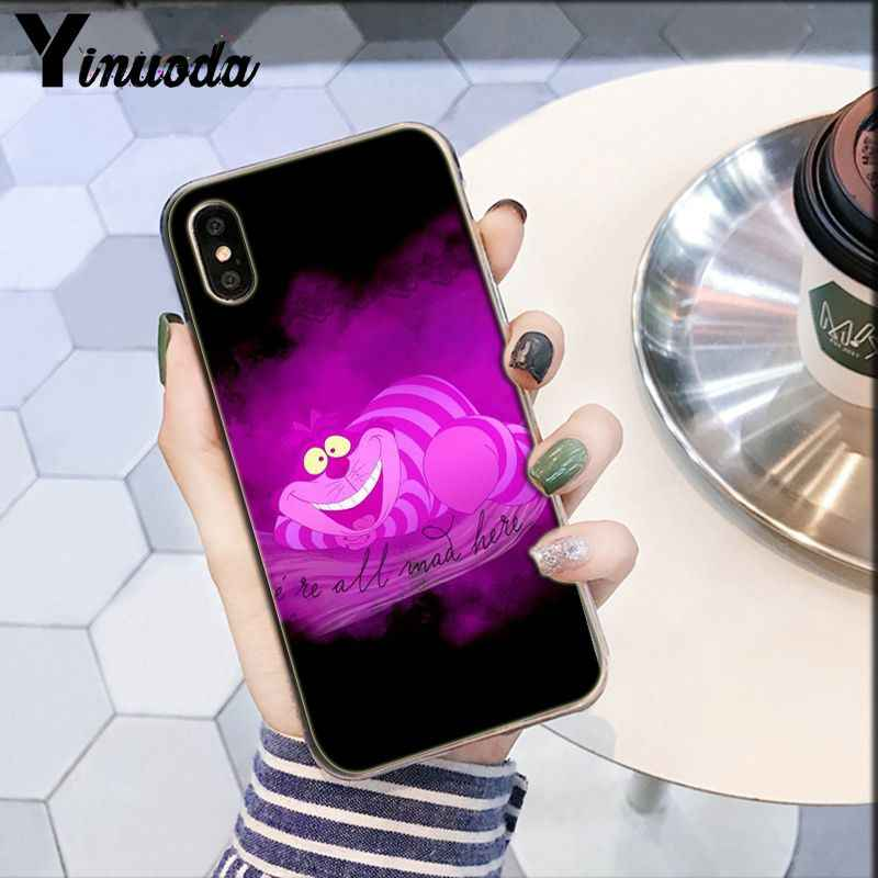 Yinuoda شيشاير القط نحن جميعا في الأرجواني والوردي لتقوم بها بنفسك جراب هاتف لابل آيفون 8 7 6 6S زائد X XS ماكس 5 5s SE XR غطاء