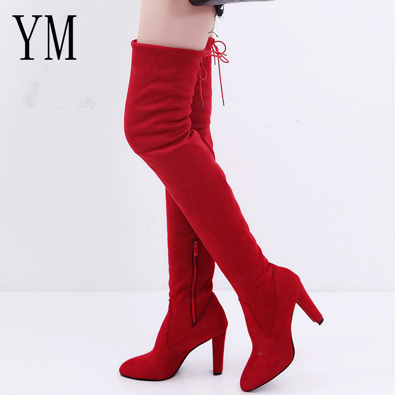 Over-The-Knee Boots Platform Shoes Winter High-Heels Warm Female Women Round-Toe Casual