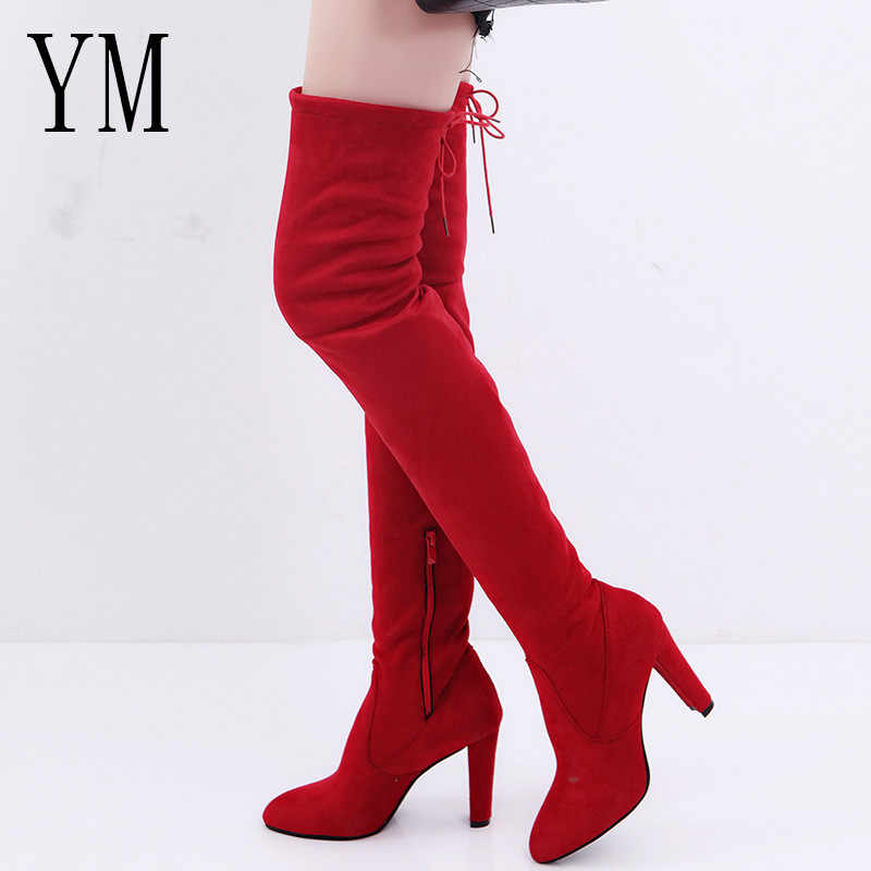 83a6c17a3 Hot Women Casual Red Over the Knee boots shoes Winter Female Round Toe  Platform high heels
