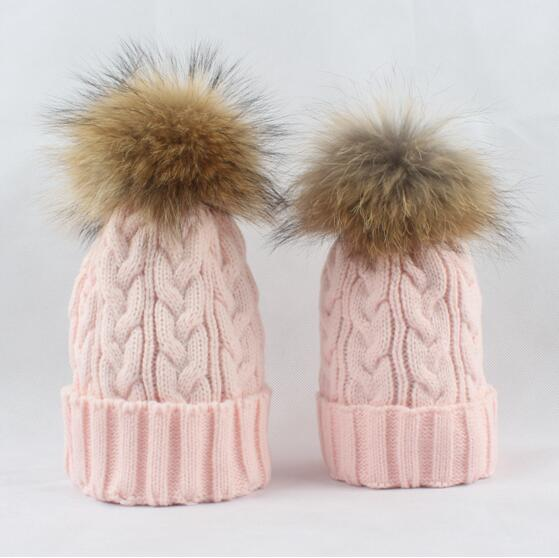 women and kids winter warm knitted raccoon pom pom hat women and microcredit