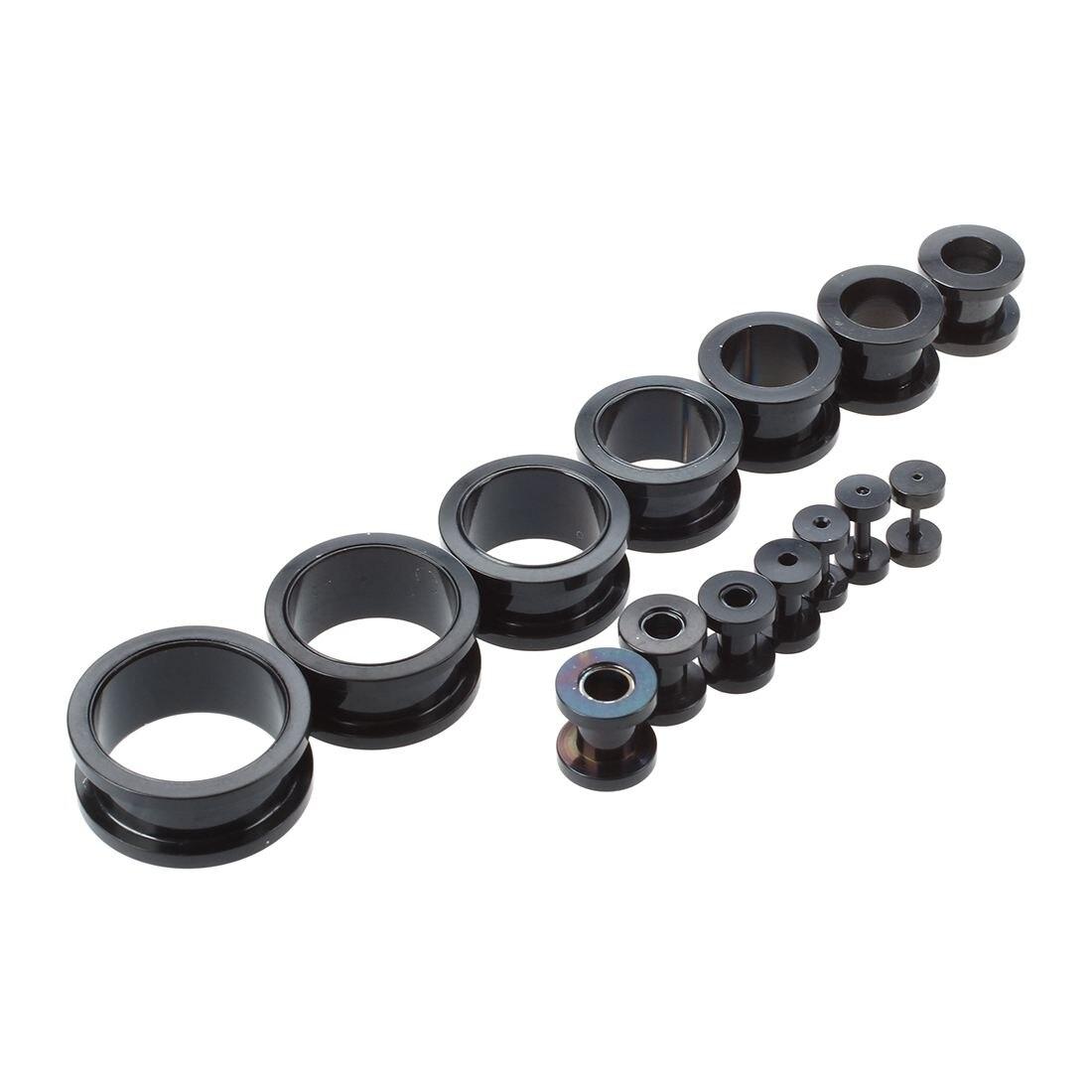 Set 14 ear taper stretcher Expander Plug black in stainless steel 316L