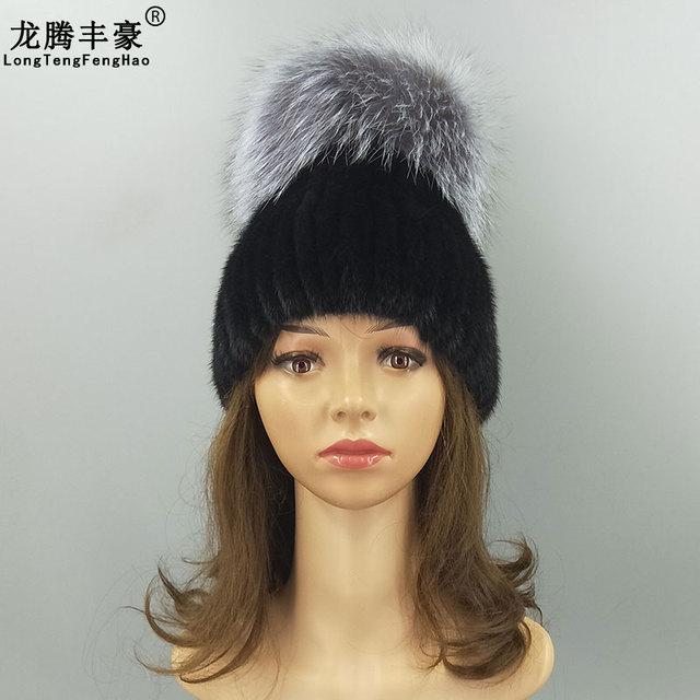 13d39b13122d7 New Design Real Mink Fur Women Hat Warm 100% Natural Real Mink Fur Beanies  With Genuine Fox Fur Pompom Female Girl Winter Cap