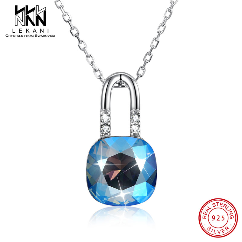 Special Lock Shape Pendant Crystal From Swarovski Necklace For Women With 925 Sterling Silver Chain Anniversary Fine Jewelry in Necklaces from Jewelry Accessories