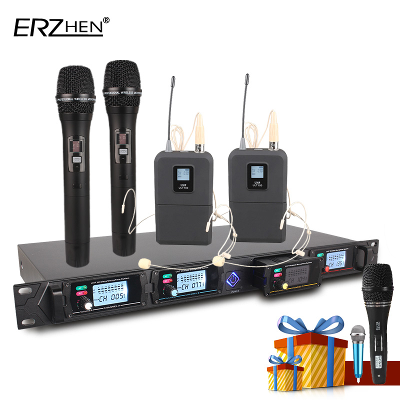 Wireless microphone system 8000GT professional UHF channels dynamic microphone professional 4 karaoke microphone latest concep