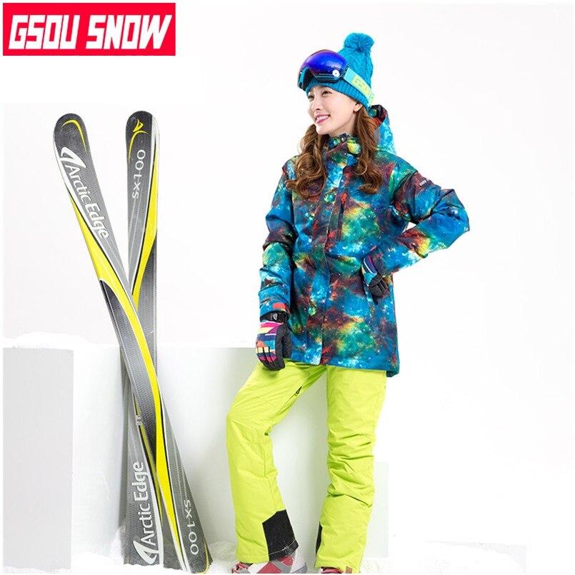 2018 combinaison de neige femmes wintersport combinaison de ski de montagne pour femmes combinaison de ski femme veste de snowboard et pantalon dames imperméable à l'eau