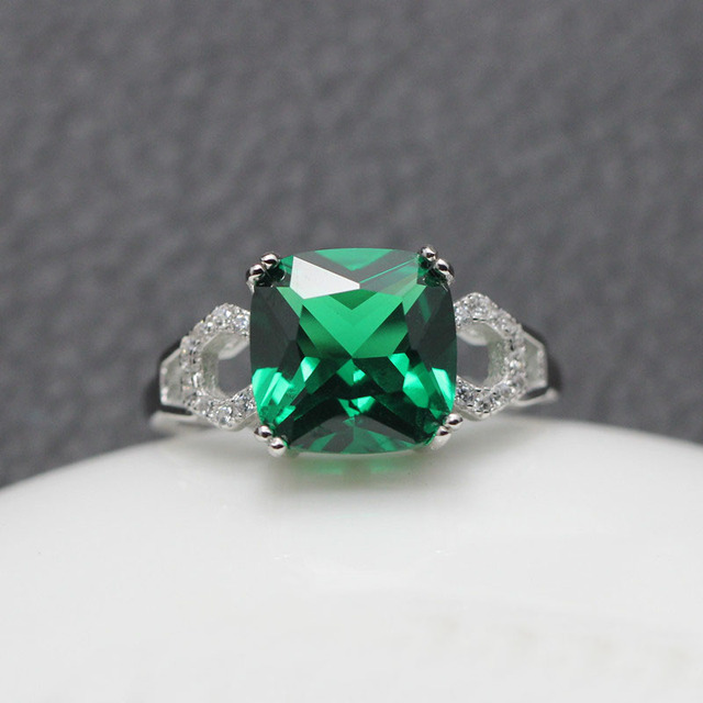 925 Sterling Silver Square Shape Emerald Gemstone Ring aGTnrwPzzF