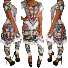 F African Bazin Summer Outfits Bodycon Dashiki 2 Piece Set Side Split Long Shirt Leggings Pants Traditional Dress Women Clothing