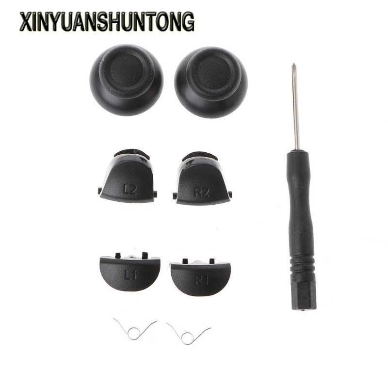XINYUANSHUNTONG Game Accessory 9-In-1 Analog Thumb Sticks L1 R1 L2 R2 Trigger Buttons Kit For PS4 Controller