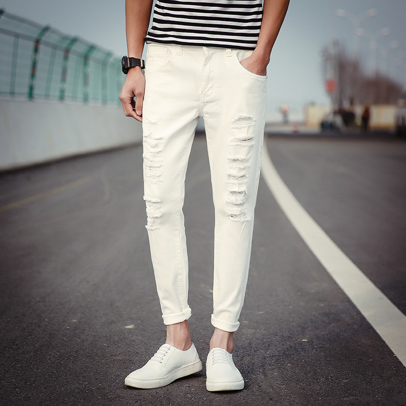 Top Quality 2020 Spring Autumn Casual Joker Male Multi Ripped Hole Hip Hop Skinny Jeans Men Beggar Pants White /black Trousers