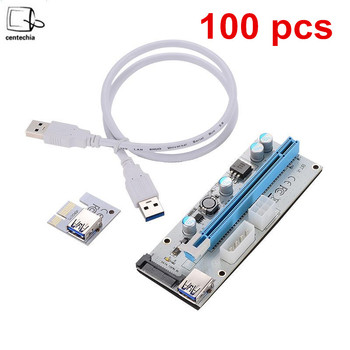 Hot 100pcs White PCI-E Riser 008 Express 1X 4x 8x 16x Extender PCI E USB Riser 008S Adapter Card SATA 15pin for BTC Mining Miner