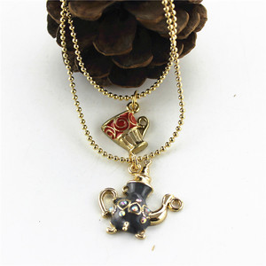 XQ с бесплатной доставкой 2015 Новинка BJ Двойная Цепочка Ожерелье Ms модное ожерелье из сплава банкет