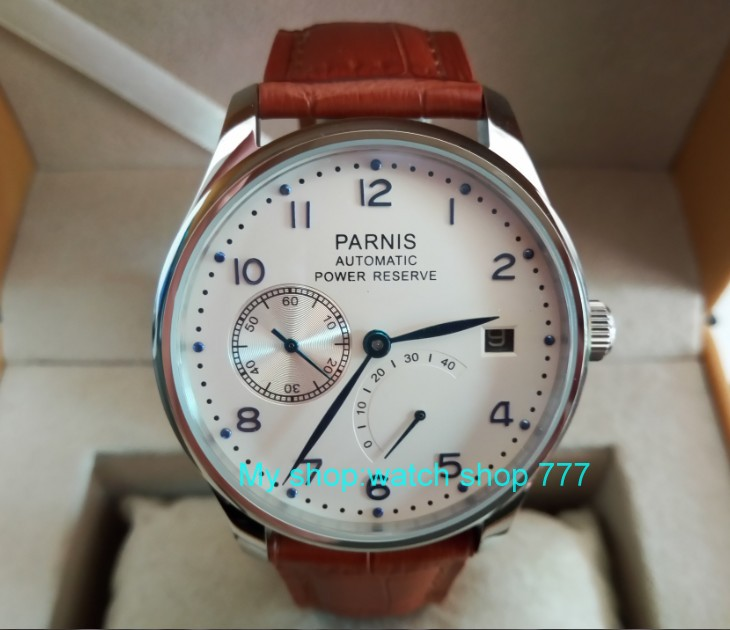 43 mm PARNIS white dial ST2530 Automatic Self-Wind movement men's watch power reserve Casual watch wholesale rnm3a 40mm parnis white dial vintage automatic movement mens watch p25