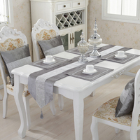 Flannel Diamond Table Runner Tablecloth + Velvet Rhinestone Cushion Pillowcase + Table Mat With Diamond For Home Party Decor