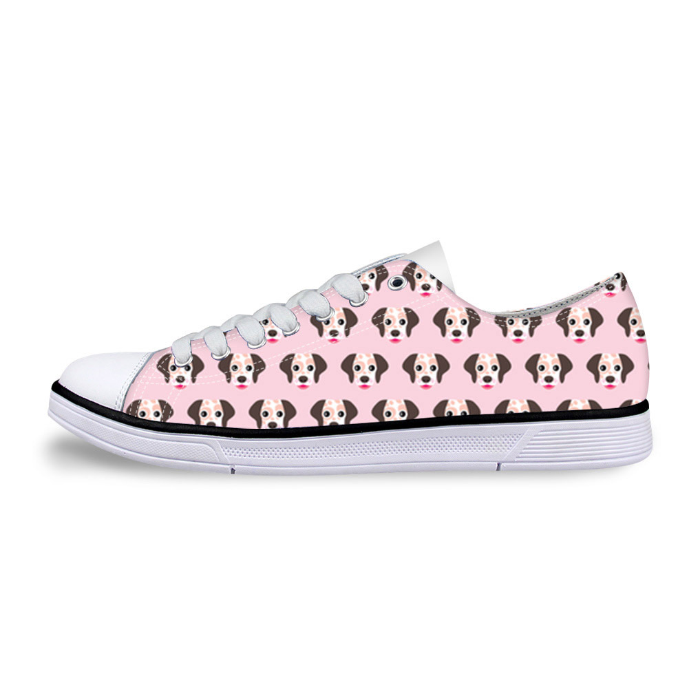 Casual Canvas Sewing Pink Shoes Women Cute Animal Dog Pattern Women's Flats Vulcanized Shoes Low Style Breathable Sneakers