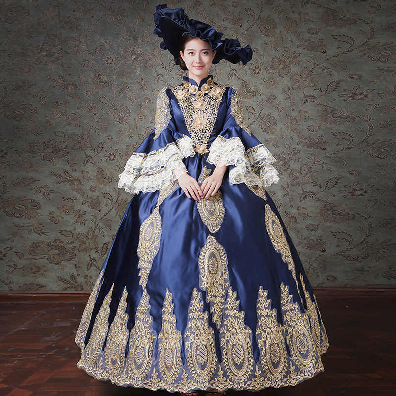Detail Feedback Questions about Dark Blue Gothic Victorian Dress ...