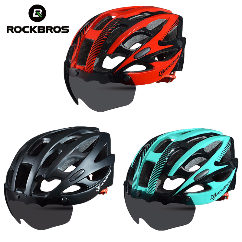 ROCKBROS Cycling Bike Bicycle Helmet With Lenses Windproof Men Integrally molded 28 Vents EPS MTB Riding