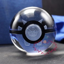Free Shipping Hot Selling Pokemon Go Monster Gengar 3D laser Pokeball Crystal ball for Birthday Gifts