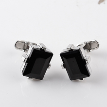 Elegant Black Crystal Cufflinks