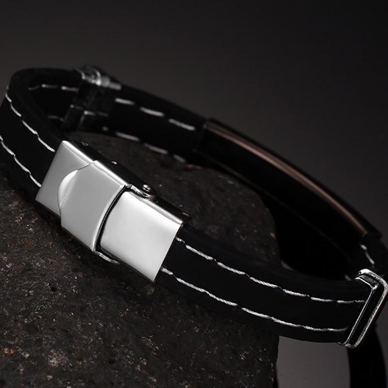 Men/'s Bracelet Stainless Steel Bracelet Black Silicone Silver Men/'s Top Trend