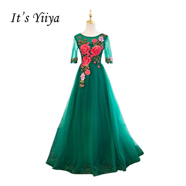 It s YiiYa New Green Illusion Half Sleeves Embroidery Flowers A-line Simple Party  Formal Dress Floor Length Evening Dress MYF078 4cad5c6384d8