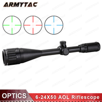 ArmyTac Sniper Shooting 6 24X50 AOL 1 inch Full Size Tactical Optical Illuminated View Mil Dot Rifle Lock Reset Reach