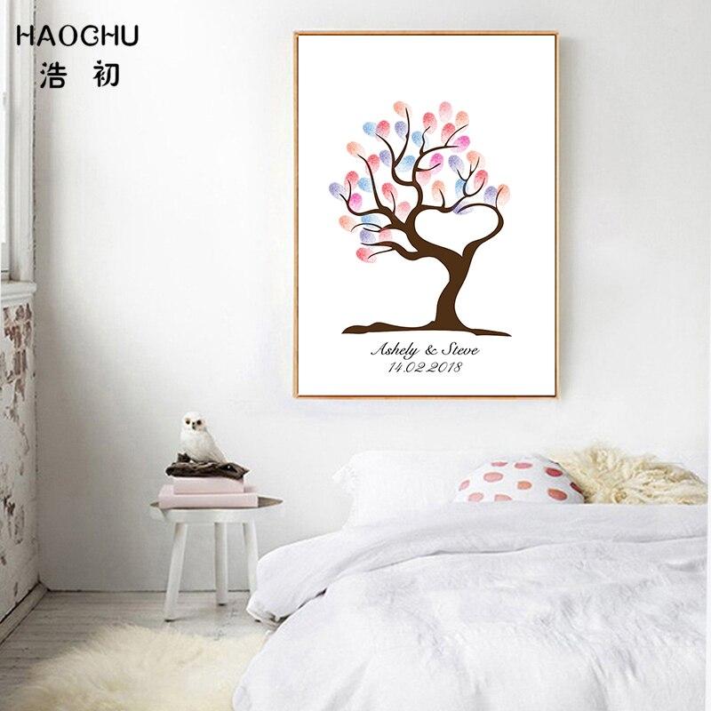 HAOCHU DIY Fingerprint Signature Guest Books Baby Shower Decorations Growing Tree Love Heart Wedding Party Supplies Souvenir