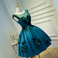 3D Flower Graduation Dresses Green Blue Ball Gown Vestidos De Graduacion Cortos Lace Vestidos De Baile Graduation Dresses