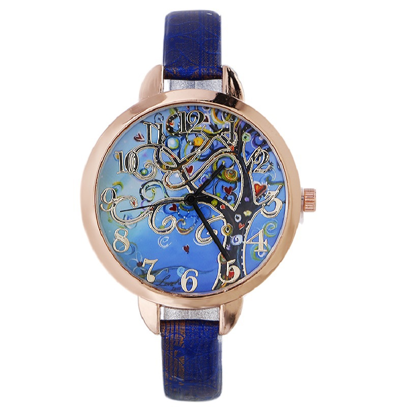 Gnova Platinum Fashion Women Watch Tree of Life Hearts Painting Wristwatch Blue Sky Vintage Geneva Style A806 gnova platinum women watch casual dress wristwatch blue jeans bike pu leather reloj lady bicecly fashion geneva style a926