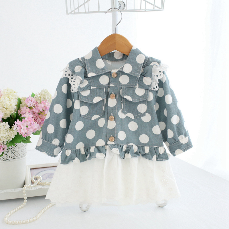 Baby Girl Dress With Cardigan White Polka Dots Dresses Long Sleeve Infant Girl Winter Clothes Cotton Frock A014 Birthday Outfits toddlers girls dots deer pleated cotton dress long sleeve dresses page 10