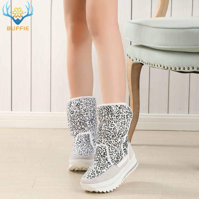 Beyaz leopar bayan botları kış snowboot güzel görünümlü artı büyük boy peluş sıcak kürk Kauçuk EVA taban ile yüksek kalite kadın