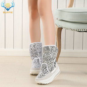 Image 4 - White leopard female boots winter snowboot nice looking plus big size plush warm fur Rubber with EVA outsole high quality women