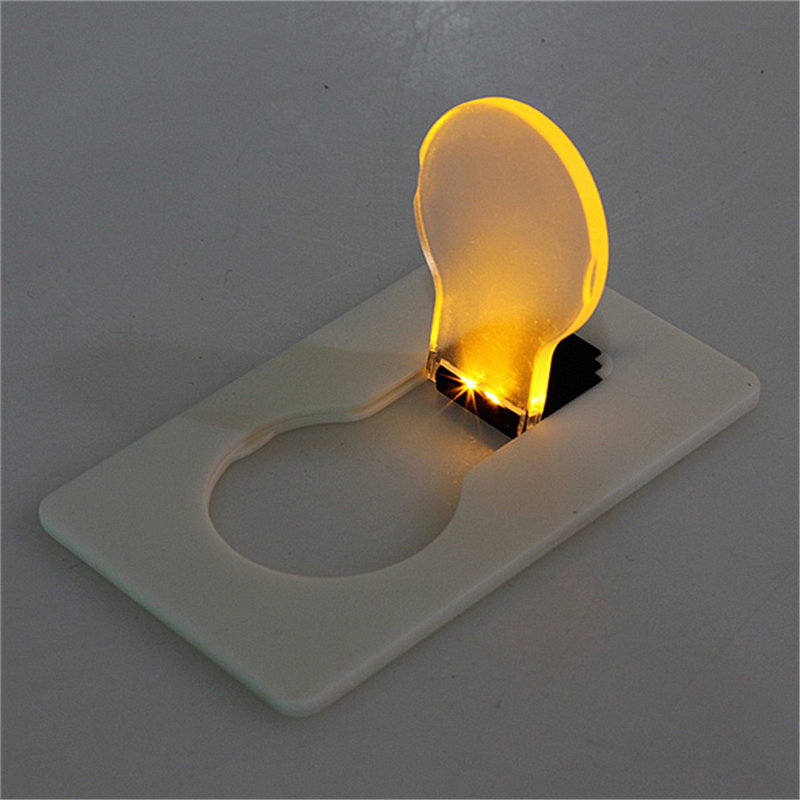 Mini Portable Pockets LED Card Light Emergency Light Lamp Bulb Concept Design Put In Purse Wallet ABS Warm White Lighting 3V
