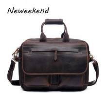NEWEEKEND 2911 Vintage Casual Genuine Leather Crazy Horse Thick Skin 15 Inch Laptop iPad Handbag Laptop Crossbody Bag for Man