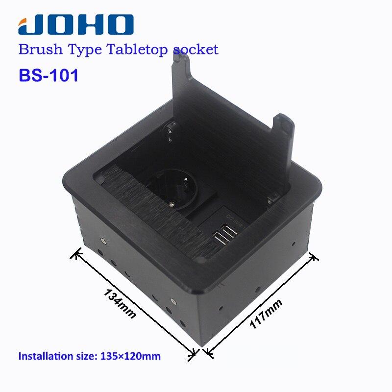 JOHO multi-fonction bureau prise boîte noir argent en alliage d'aluminium EU prise téléphone USB chargeur Interface Table prise BS-101