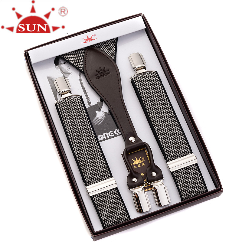 Man suspender clip condole belt leather suspender trousers for mens male money extended elastic tall fat people shoulder straps
