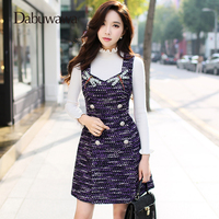 Dabuwawa Purple 2018 Autumn Spring Beading Sleeveless Dress Sexy V Neck Vintage Dress Women Vest Dress