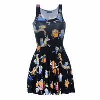 Moda mujeres vestido de dibujos animados mar mundo imprimir verano sin mangas Sol vestidos