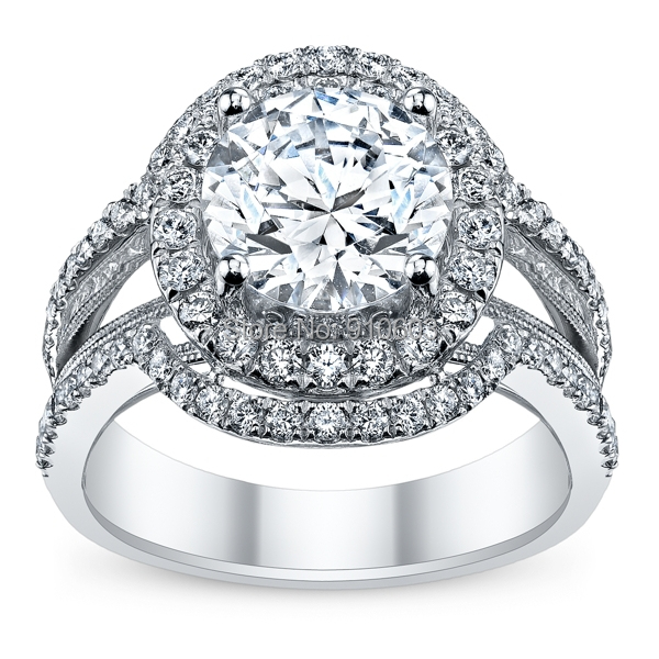 Supreme Solid 9K White Gold Engagement Ring For Women Luxury