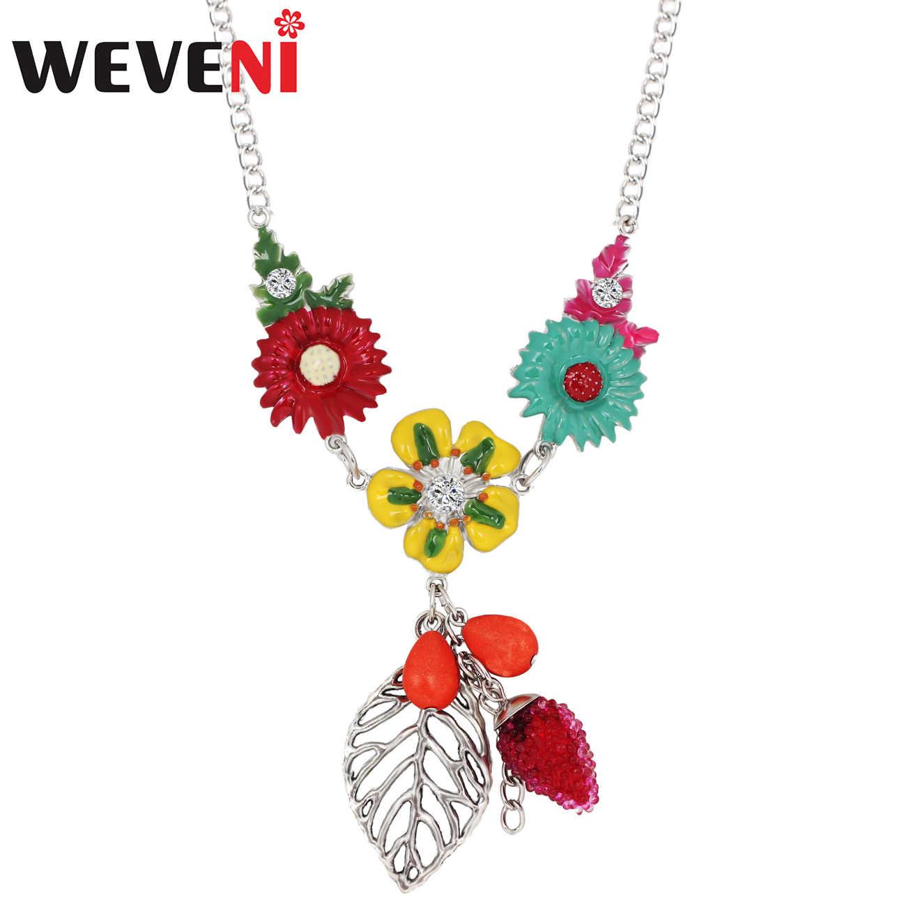 WEVENI Statement Enamel Alloy Silver Flower Leaf Necklace Choker Chain Collier Pendant Boho Vintage Jewelry For Women Girls Gift