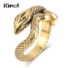 Kinel Fashion Snake Rings For Women Antique Gold Color Heavy Metals Punk Rock Ring Vintage Animal Jewelry Wholesale