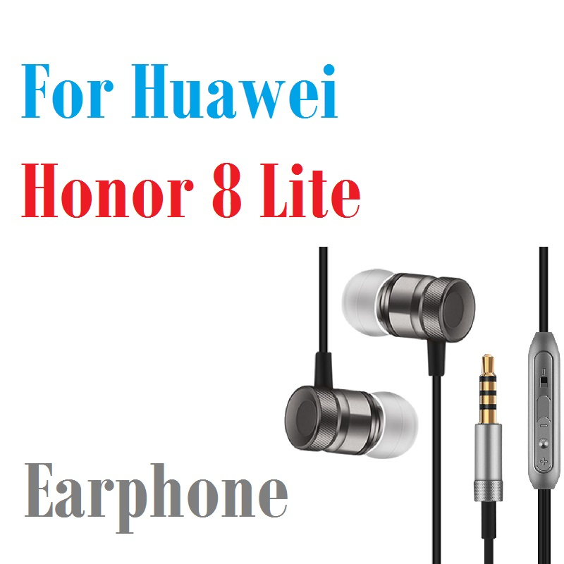 Professional Earphone Metal Heavy Bass Music Earpiece for Huawei Honor 8 Lite Headset fone de ouvido With Mic