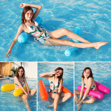 Inflatable Water Hammock Air Mattress Foldable Double Backrest Floating Row Upholstered Recliner Bed Sofa