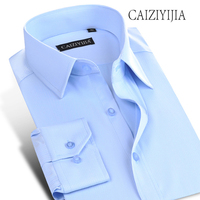CAIZIYIJIA Size S 4XL 2018 New Spring Long Sleeve Mens Dress Shirt Fashion Solid Camisa Masculina Brand Wedding Shirt