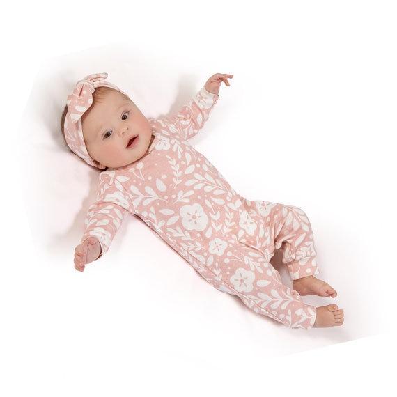 2018 otoño estilo de los bebés de los mamelucos de manga Larga rosa de una pieza romper + Headband 2 unids de Navidad ropa de bebé mono trajes