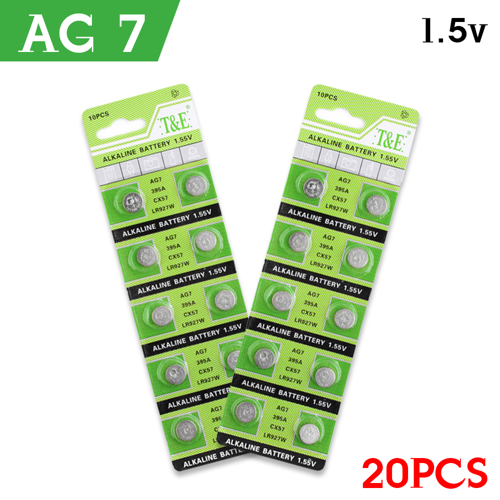 AG7 Alkaline Batteries 20pcs/pack Fast Selling G7 LR57 LR926 SR926W 395 Coin Button Cell 1.55V For Watch Toys Remote