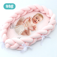 AAG Baby Bed Portable Crib Baby Nest Cot Struggle Pipe Kids Cradle Children's Bed Bumper Sides in the Crib Newborn Room Decor extra big size baby bed length 120cm can load adult no paint baby crib newborn baby cradle rocking bed