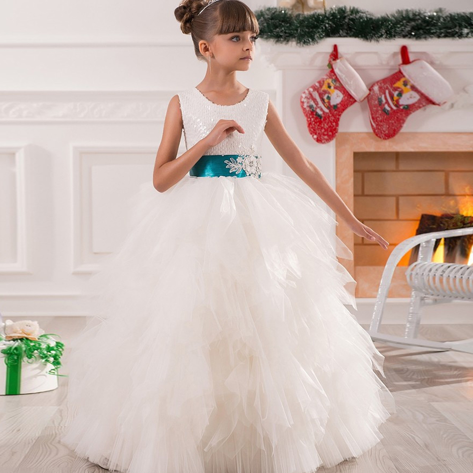 Flower Girl Dress Ball Gown Ankle Length Layered Dress Sleeveless Bow Belt Beauty Appliques Lace Baby Dress 2-12 Years Old Girls 2 8y korea style cute bow belt sleeveless round collar assorted color performing dress layered dress girl evening dress