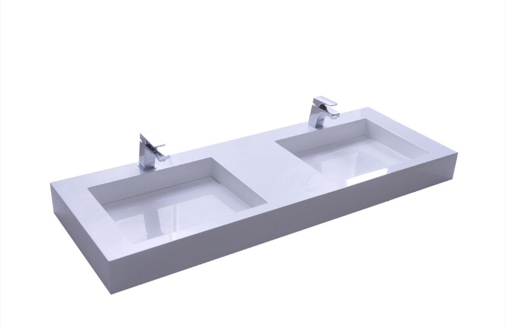 WALL MOUNTED 1500MM VANITY COUNTER TOP BASIN STONE SOLID SURFACE MATT WHITE DOUBLE SINKS 38264 2309
