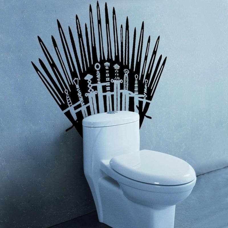Gy09 Iron Throne Toilet Wall Sticker Game Of Thrones Katana Decal